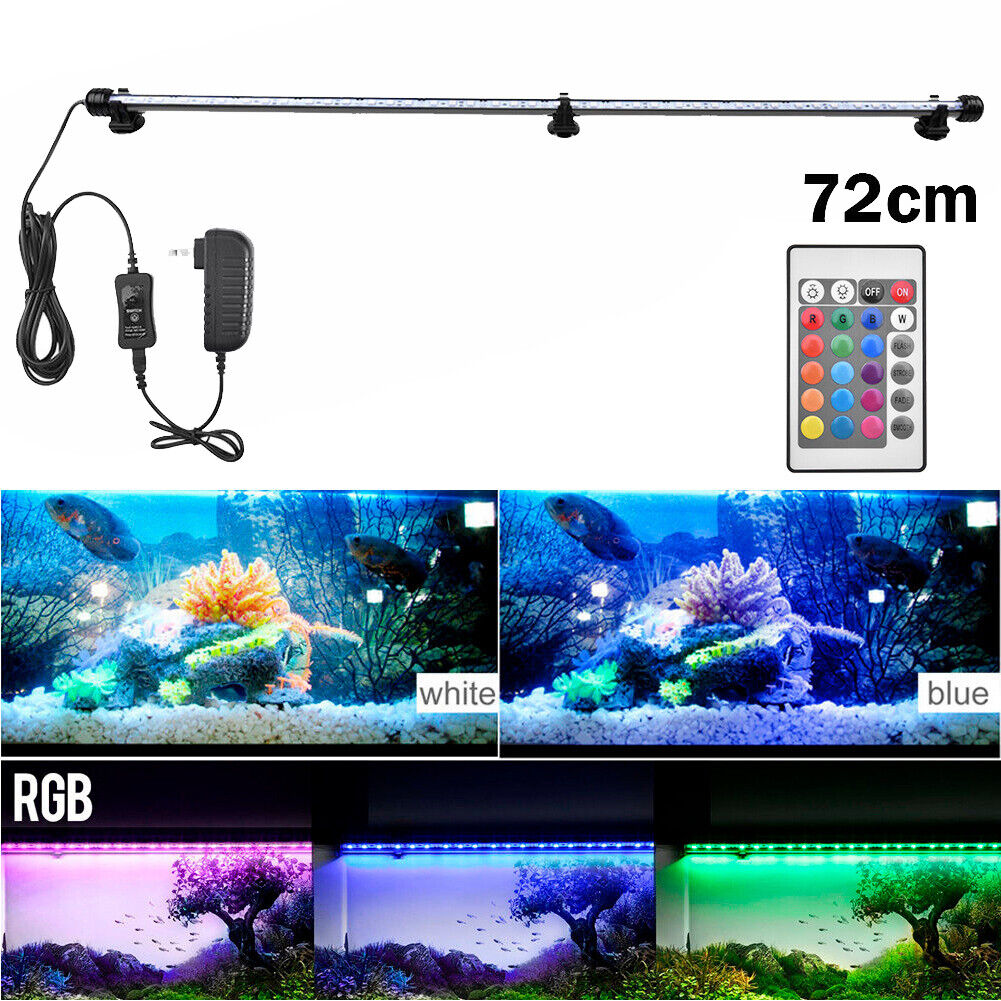 Aquarium Fish Tank RGB LED Light Submersible Waterproof Bar Strip Lamp Lighting 72cm(For 80-90cm Fish Tank)