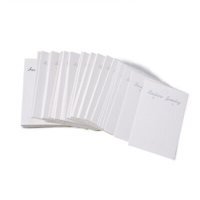 100 Pcs Rectangle White Earring Displays Paper Cards Jewelry Display 80x50mm