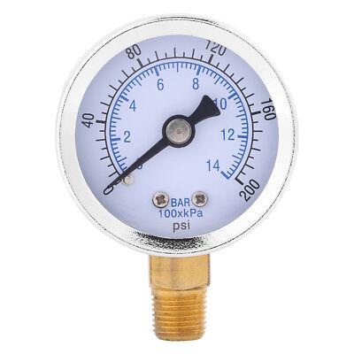 0-200psi 0-14bar Hydraulic Water Pressure Gauge 40mm Dial Meter 18 Npt