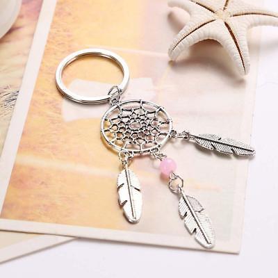 Schlüsselanhänger Traumfänger Glücksbringer Geschenk Metall Rosa Silber BR5T (Glücksbringer Schlüsselanhänger)