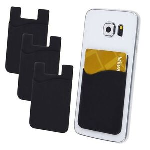 3X Silicone Mobile Phone Wallet Credit Card Holder Pocket Adhesive Sticker Black