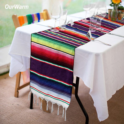 10×Mexican Serape Table Runner Blanket Saltillo Fiesta Party Fringe Tablecloth  - Fiesta Table Runner