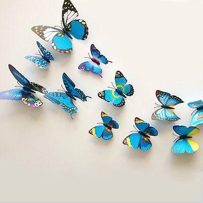 24Pcs Diy 3D Blue Butterfly Baby Wall Stickers Decals Room Decor Vinyl Art
