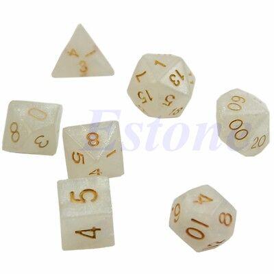 7pcs Sided Dice D4 D6 D8 D10 D12 D20 Dungeons&Dragon D&D RPG Poly Game Set White