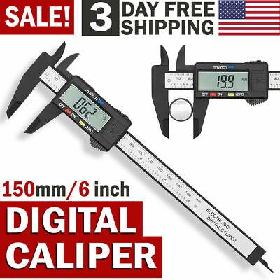 6 150mm Carbin Fiber Electronic Digital Vernier Caliper Micrometer Guage Lcd Us