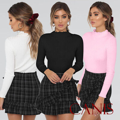 Women Turtle Neck Crop Tops Long Sleeve Plain Polo Short Stretch T- Shirts Lot ()