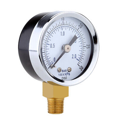 0-30psi 0-2bar Air Pressure Hydraulic Gauge 14inch Npt Side Mount Manometer Hot