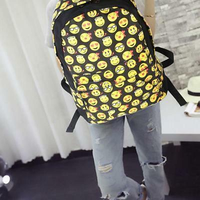 Smiley Emoji Backpacks Canvas School Bags For Girls Book Bag Laptop Satchel Tote - Emoji For Girls