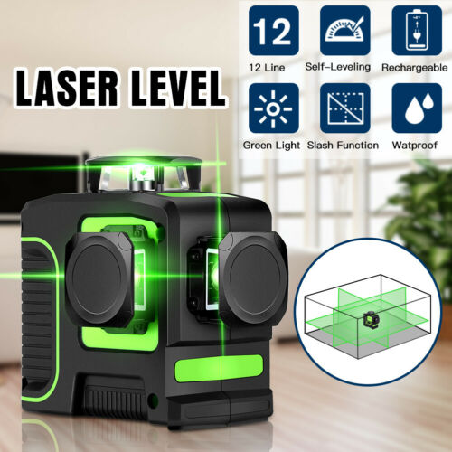Self Leveling Rotary laser level green 12 Lines 3D Cross Line Laser Measure Tool