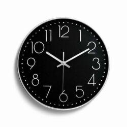 12 30cm Fashion Wall Clock Black Large Digital Silent No Ticking Silver & Black