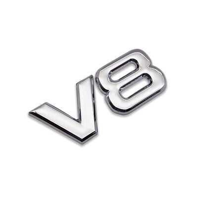 Silver Metal V8 Logo Emblem Classic V-8 Engine Badge Sport Sticker Turbo Decal