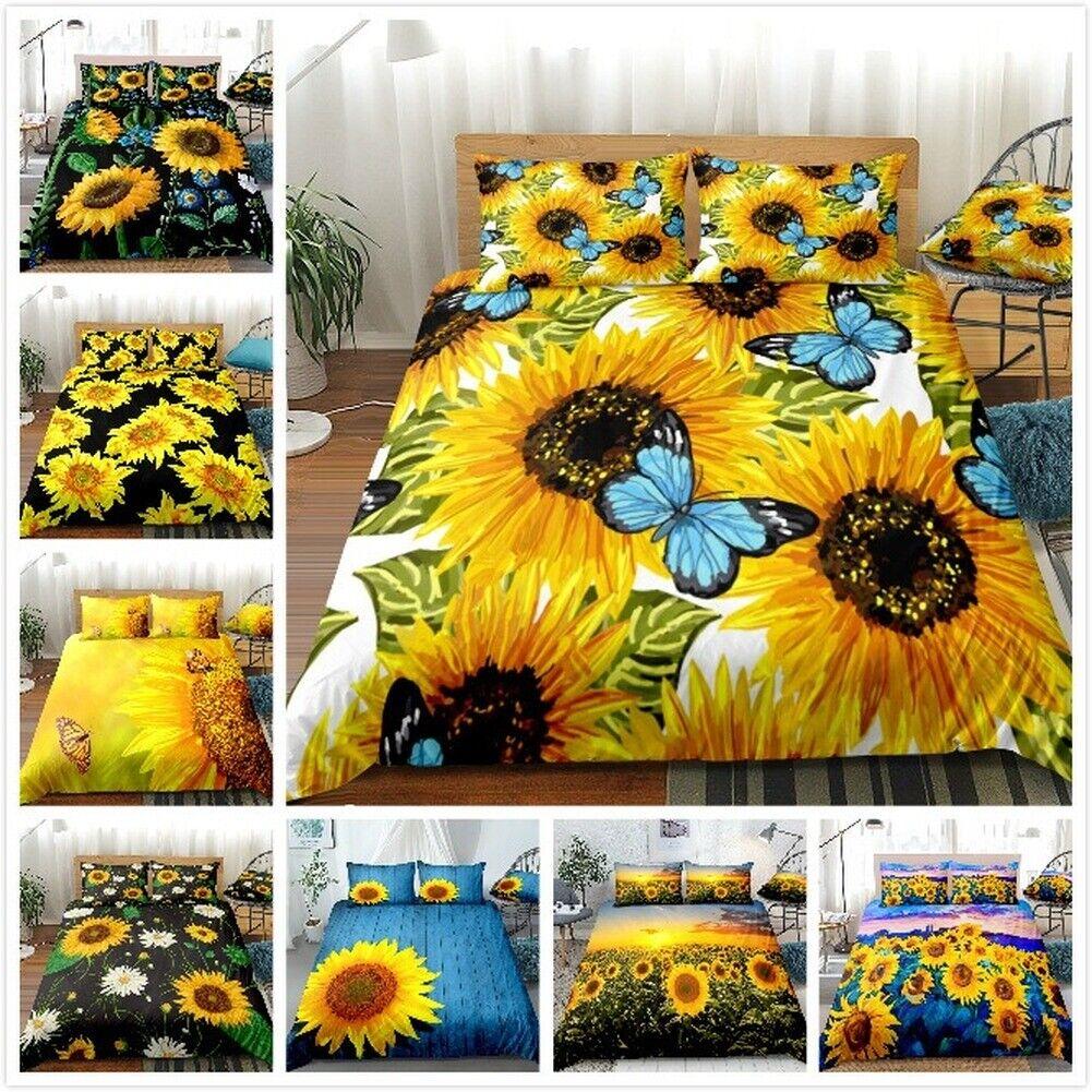 3d Sunshine Sunflower Flowers Duvet Quilt Doona Covers Pillow Case Bedding Set Ebay