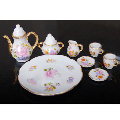New 8Sets Porcelain Tea Set Teapot Vintage Style Coffee Teacup Retro Floral Cups