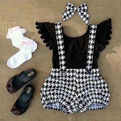Toddler Kid Baby Girl T-shirt Top+Plaid Straps Pants Princess Outfit Clothes Set