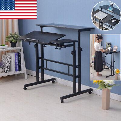 Computer Desk Pc Laptop Wood Table Black Workstation Stand Up Lift Adjustable
