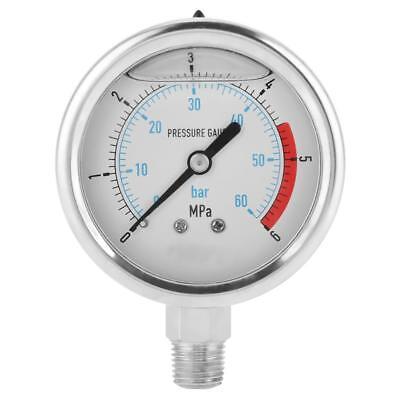 New 060bar 06mpa 14 Npt 60mm Dial Air Hydraulic Water Pressure Gauge Meter