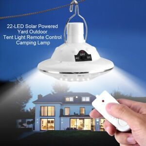 Portable Solar LED Tent Bulb Light Outdoor Camping Yard Remote Control Lamp EB