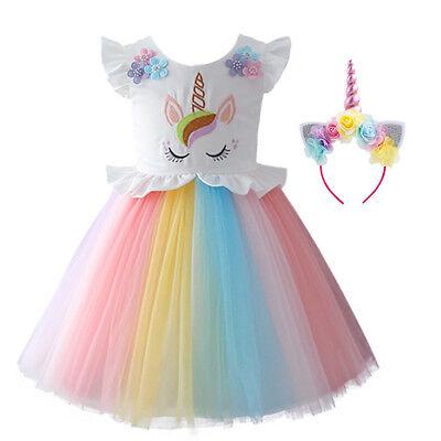 Kinder Mädchen Einhorn Karnevals Geburtstags Cosplay Kleid Fancy - Geburt Kostüme