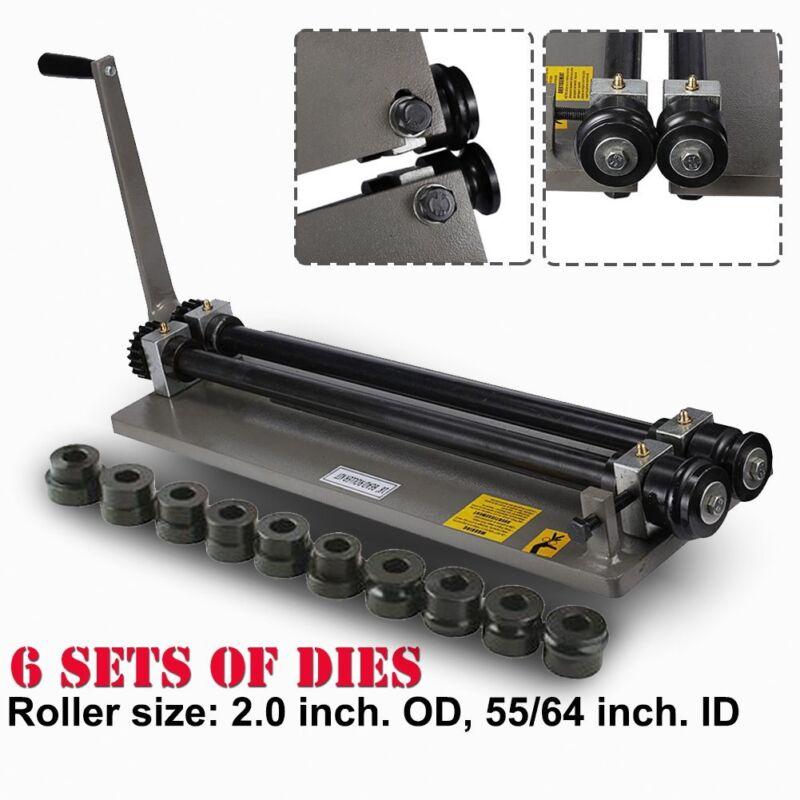 Sheet Metal Bead Roller Machine Steel Gear Drive Bench Mount 18-Gauge W/ 6 Die