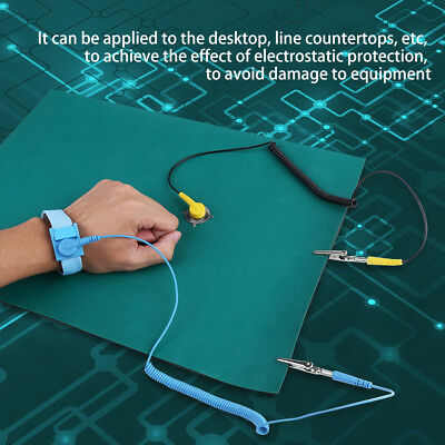 Electrostatic Discharge Anti-static Wrist Strap Ground Wire Mat Set For Phone