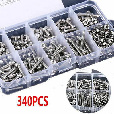 340 Pcs M3 Stainless Steel Ss304 Hex Socket Cap Head Screws And Nuts Assortment