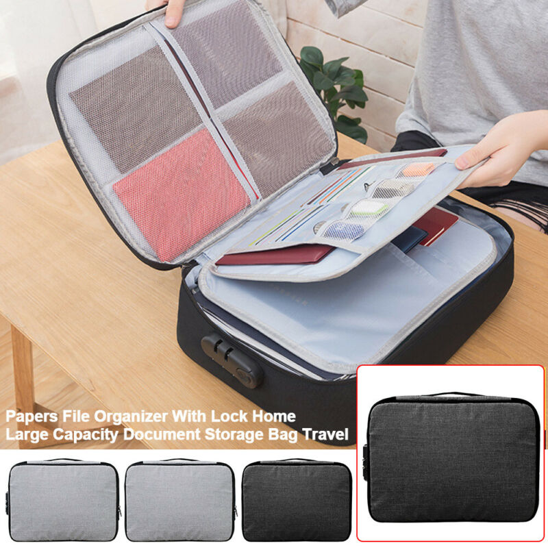 Papers File Organizer With Lock Home Large Capacity Document Storage Bag Travel!