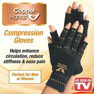 Copper Hands Arthritis Gloves Therapeutic Compression Brace L/XL-  As Seen on TV