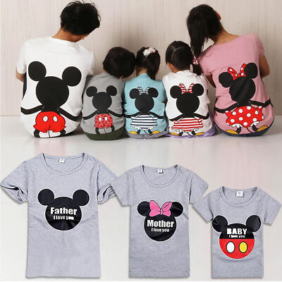 Family Love Matching T-Shirt Mom Dad Kid Baby Top Tee Shirt (Mickey Mouse Kid)