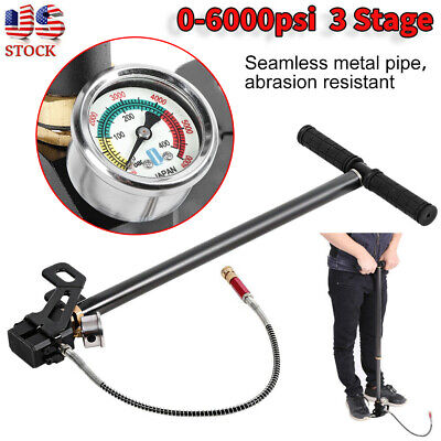 6000psi Tungsten Steel 3 Stage Hand Pump Fit PCP Air Gun Boat Tire Ball US Stock