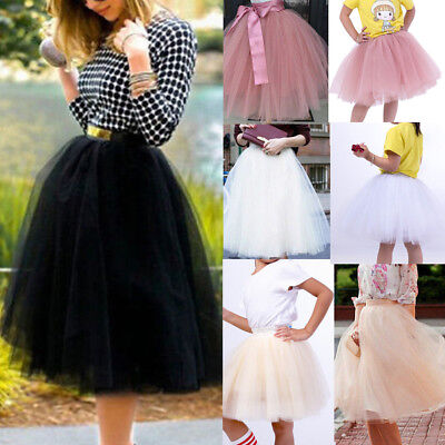 7 Layers Women A Line Tulle Tutu Skirt Party Princess Ballet Dress Knee Length (Adult Tulle Skirt)