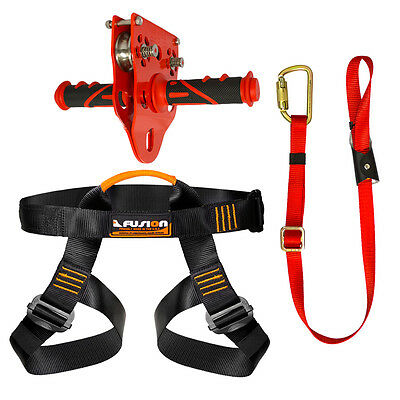 Fusion Pro Backyard Zip Line Kit Harness Lanyard Trolley Bundle FK-A-HLT-31