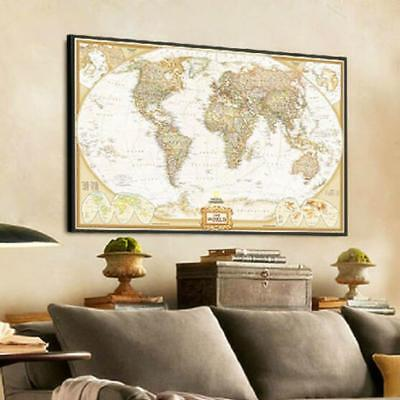 Vintage Retro World Map Antique Paper Poster Wall Chart Art Home Bedroom Decor