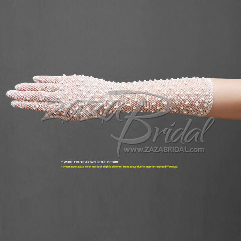 Delicate Long Stretch Filet Crochet Gloves with Pearl Decorate