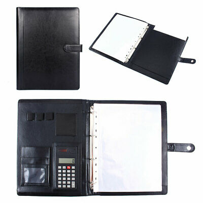 A4 Conference Folder Zipped Folio Case Pu Leather Business Portfolio Ring Binder