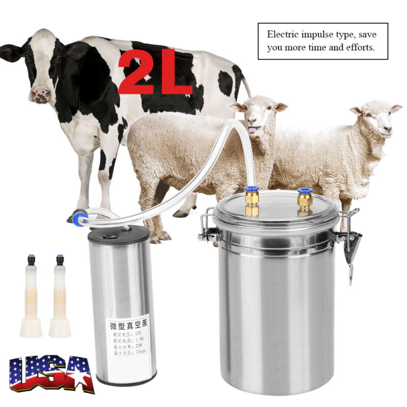 2L Electric Milking Machine Cow Goat Milker Stainless Steel Tank Double Heads