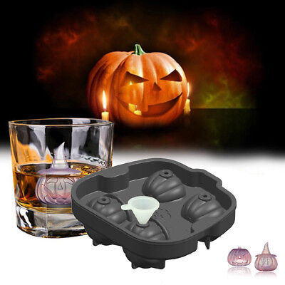 3D Halloween Pirate Pumpkin Ice Cube Maker Mold Silicone Whiskey Party Tray Bar