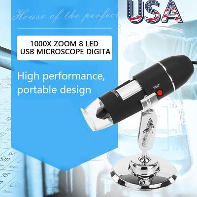 8led 1000x Usb 2.0 Digital Microscope Endoscope Magnifier Camera With Stand