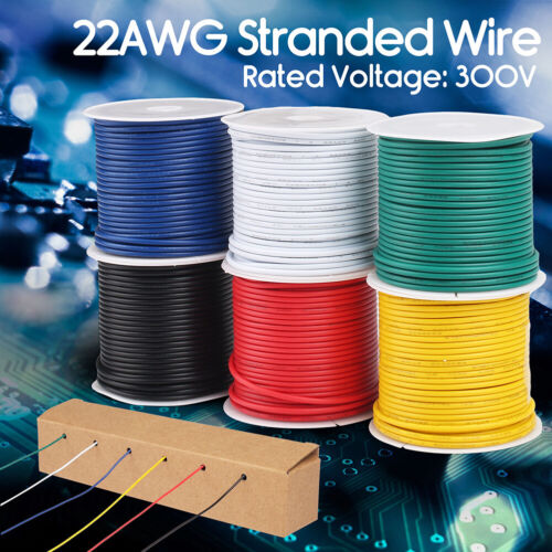 9m / Roll 22 AWG rubber 6 colors Electrical Wire Tinned Copper line Cable