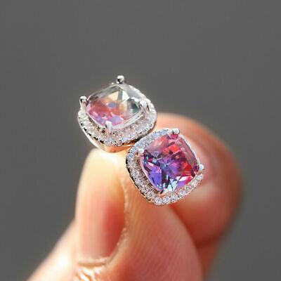 Luxury Princess Rainbow Topaz Square Stud Earrings 925 Silver Tourmaline Jewelry