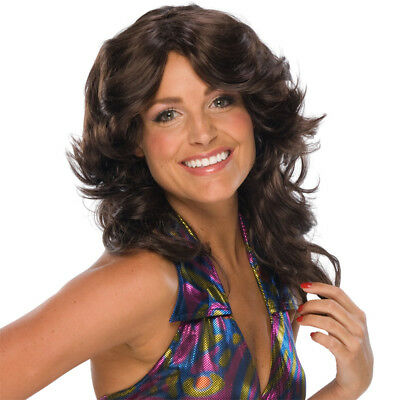Brown Feathered Wig Charlie's Angels Retro 70s Disco Costume Womens - Charlies Angels Wigs