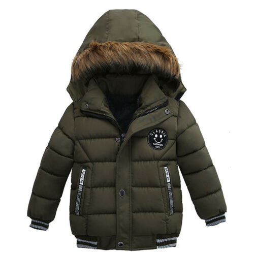 Boys Fashion Padded Jacket Cotton Coat Winter Kids Warm Fur