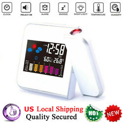 LED Digital Projection Alarm Time Clock Snooze Weather Thermometer LCD Display