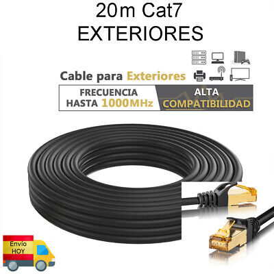 CABLE RED ETHERNET EXTERIOR CAT7 20 METROS 20m GIGABIT 1000 mbps ENVIO...
