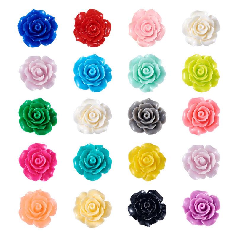 200pcs Flatback Resin Flower Cabochons For Craft Scrapbooking Pendants 18~20x9mm