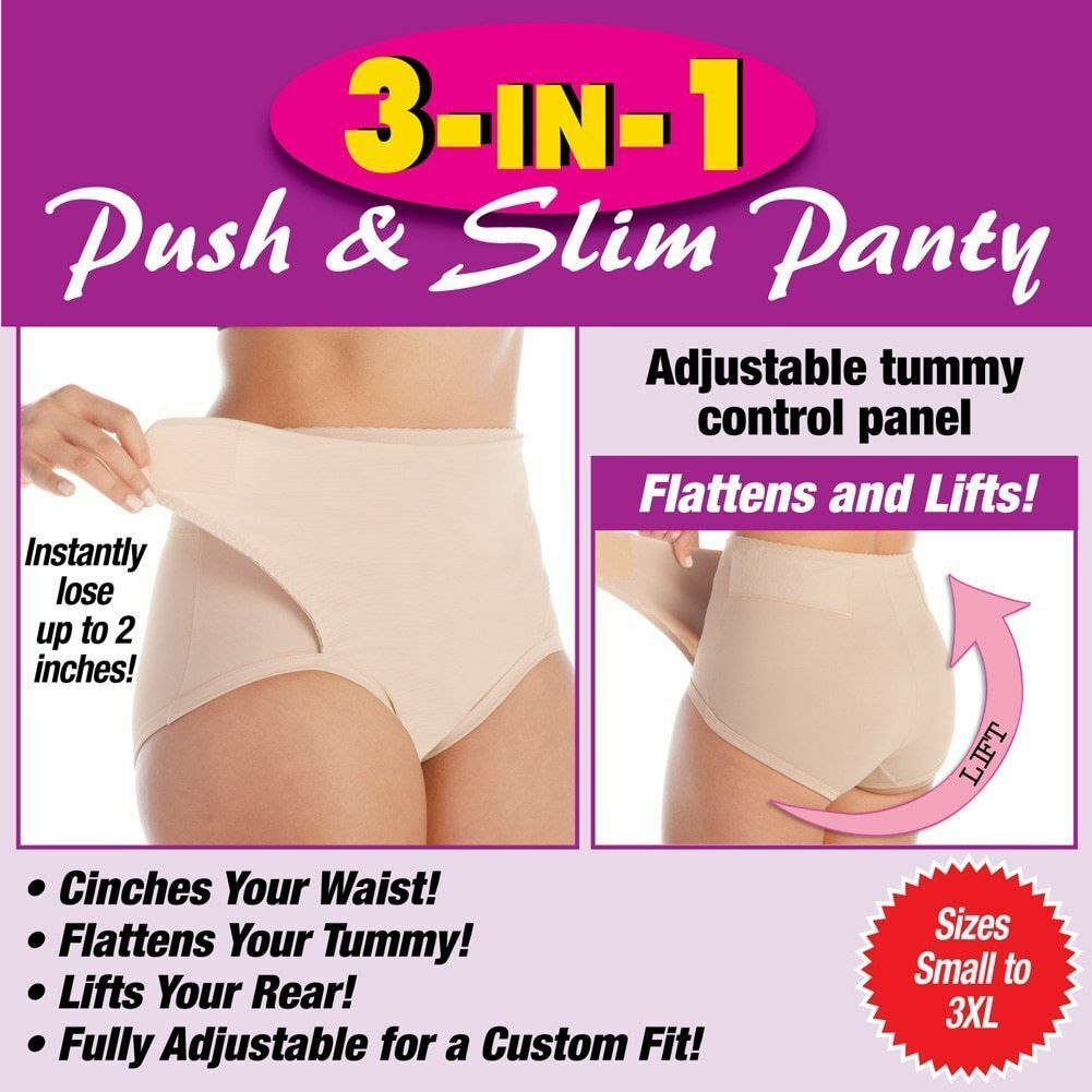 3-in-1 Push & Slim Shapewear Panty Slims Your Waist, and Boosts Your Rear 2″ Off Clothing, Shoes & Accessories