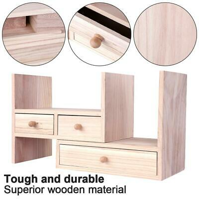 Wood Desktop Bookcase Book Shelf Organizer With Drawer Home Office Storage Rack