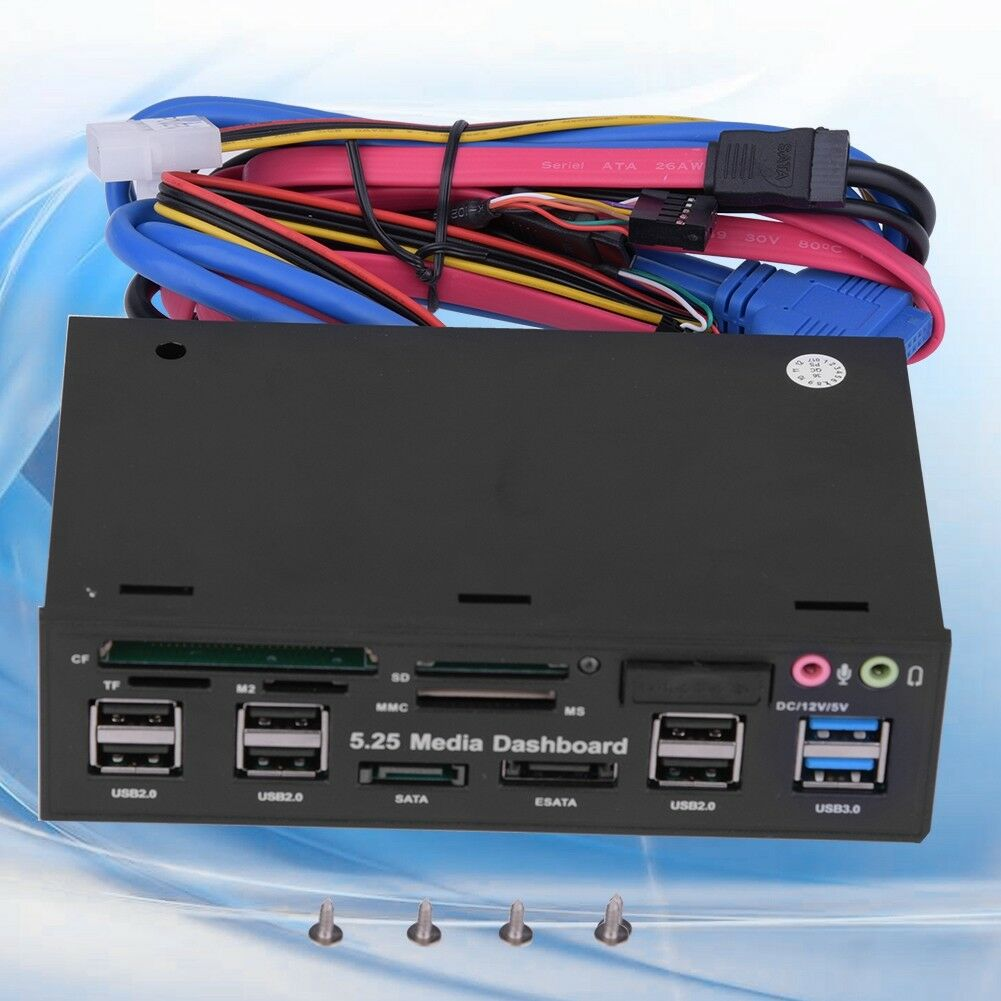 "5.25/"" PC Media Dashboard Front Panel HUB e-SATA SATA USB 3.0 Multi Card Reader"