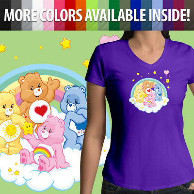 Care Bears Grumpy Cheer Funshine Bear Group Girls Juniors V-Neck Tee T-Shirt Top