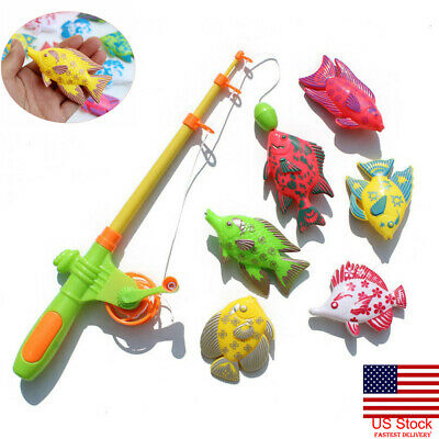 US Magnetic Fishing Fish Rod Model Game Fun Toy Kid Children Baby Bath Time Gift