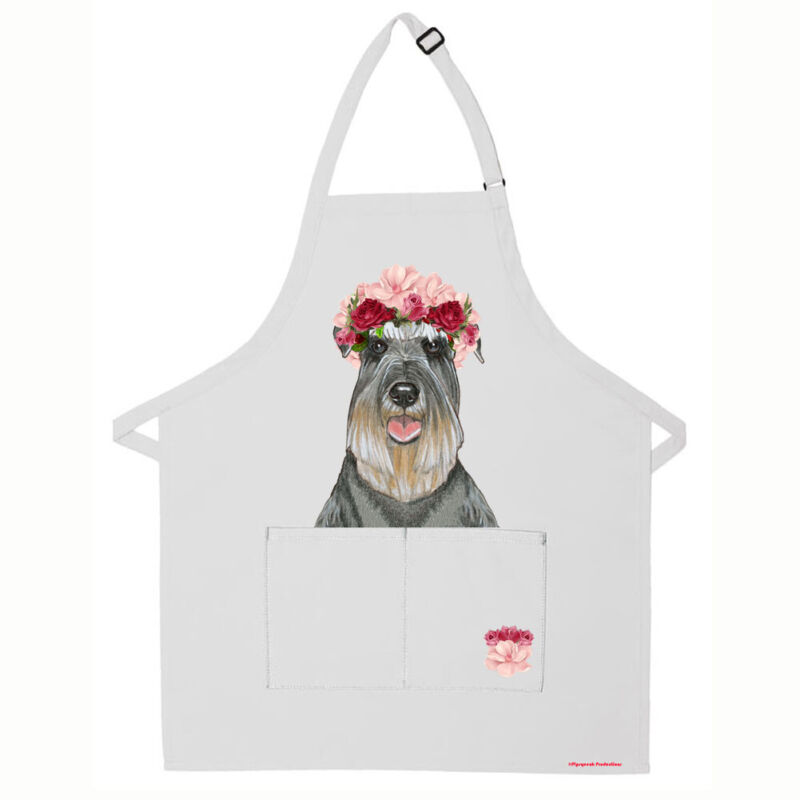 Schnauzer Dog Apron Two Pocket Bib Apron with Adj Neck